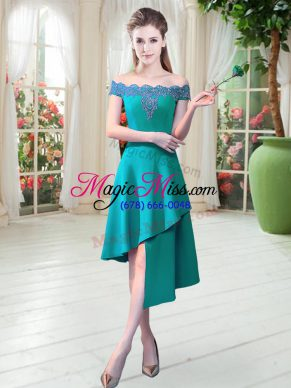 Perfect Asymmetrical Teal Dress for Prom Satin Sleeveless Appliques