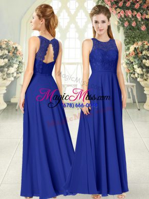 Chiffon Scoop Sleeveless Backless Lace Dress for Prom in Royal Blue