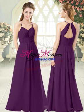 Delicate Purple Empire Spaghetti Straps Sleeveless Chiffon Floor Length Zipper Ruching Prom Dresses