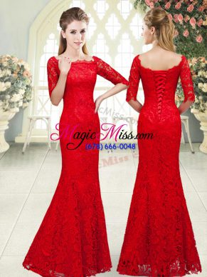 Exceptional Red 3 4 Length Sleeve Lace Lace Up Evening Wear for Prom and Party