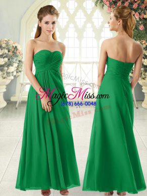 Beautiful Green Zipper Prom Dress Ruching Sleeveless Floor Length