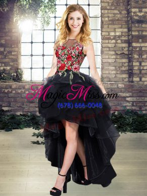 A-line Evening Outfits Black Scoop Organza Sleeveless High Low Lace Up