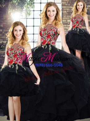 Gorgeous Tulle Bateau Sleeveless Lace Up Beading and Embroidery Quince Ball Gowns in Black