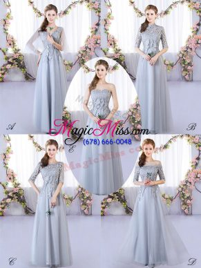 Shining Grey Sleeveless Floor Length Appliques Lace Up Court Dresses for Sweet 16