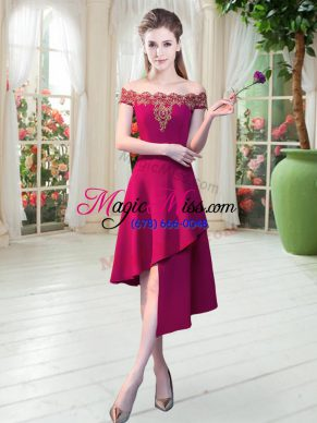Inexpensive Wine Red A-line Satin Off The Shoulder Sleeveless Appliques Asymmetrical Zipper Prom Dress