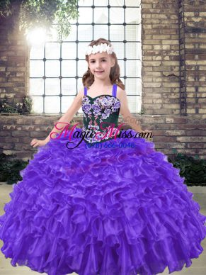 Eye-catching Purple Lace Up Straps Embroidery Girls Pageant Dresses Organza Sleeveless