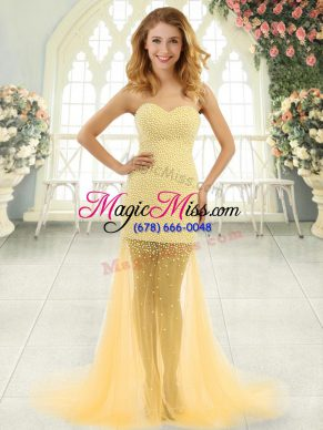 Fashionable Gold Sweetheart Neckline Beading Homecoming Dress Sleeveless Zipper