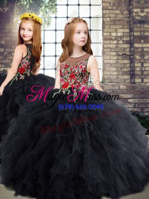 Black Sleeveless Embroidery and Ruffles Floor Length Little Girl Pageant Gowns