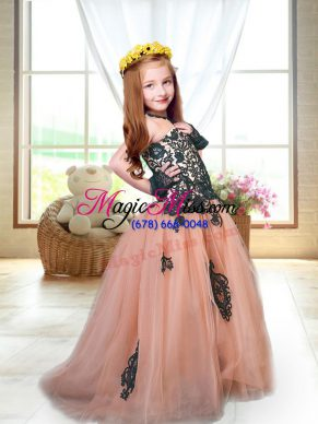 Brush Train A-line Little Girls Pageant Dress Peach Spaghetti Straps Tulle Sleeveless Lace Up