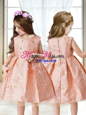 Scoop Sleeveless Satin Pageant Gowns For Girls Embroidery Zipper