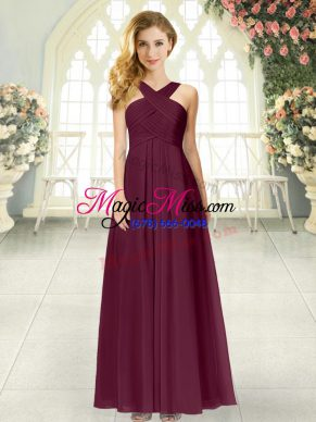 Pretty Empire Homecoming Dress Burgundy Straps Chiffon Sleeveless Floor Length Zipper
