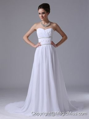 Chiffon Beaded Decorate Waist Empire Fashionable Sweetheart Court Train Wedding Dress In Atlantic Iowa