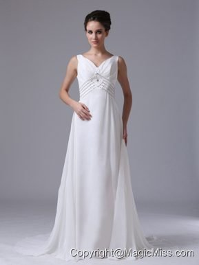 Empire Beaded Decorate Waist Wedding Dress For 2013 V-Neck Chiffon Court Train