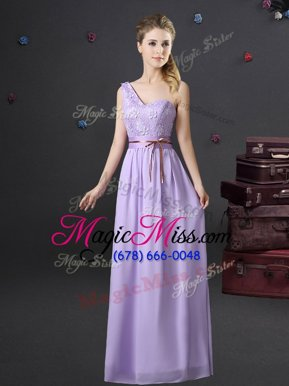 Unique Lavender Chiffon Lace Up One Shoulder Sleeveless Floor Length Wedding Party Dress Lace and Appliques and Belt