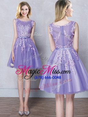 Modern Scoop Appliques and Belt Bridesmaid Dresses Lavender Zipper Sleeveless Mini Length