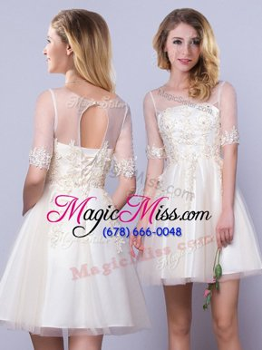 Inexpensive Scoop Champagne Lace Up Bridesmaid Dresses Appliques Half Sleeves Mini Length