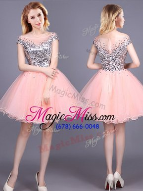 Fantastic Pink A-line Sequins Quinceanera Court Dresses Zipper Tulle Short Sleeves Mini Length