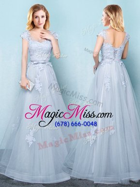 Scoop Cap Sleeves Lace Up Floor Length Appliques and Belt Bridesmaids Dress