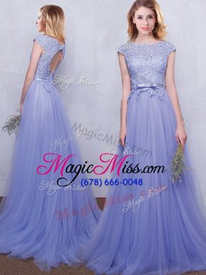 Fabulous Scoop Lavender Tulle Backless Bridesmaid Gown Cap Sleeves With Brush Train Lace and Belt