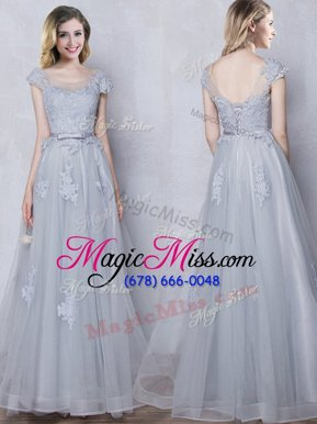 Gorgeous Scoop Cap Sleeves Floor Length Lace and Appliques and Belt Lace Up Bridesmaids Dress with Grey
