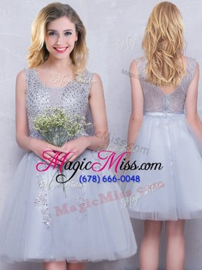 Grey Tulle Zipper Scoop Sleeveless Mini Length Bridesmaid Dresses Beading and Appliques