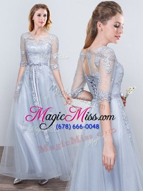 Attractive Short Sleeves Grey Lace Up Scoop Appliques and Belt Wedding Party Dress Tulle Half Sleeves