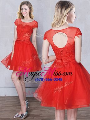 Noble Mini Length Red Wedding Guest Dresses Scoop Short Sleeves Lace Up