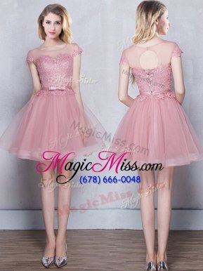 High End Scoop Pink Tulle Lace Up Wedding Guest Dresses Short Sleeves Mini Length Lace and Appliques and Belt