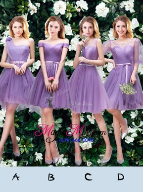 Deluxe Lavender A-line Tulle One Shoulder Sleeveless Beading and Appliques and Ruffles and Ruching and Belt and Hand Made Flower Mini Length Lace Up Court Dresses for Sweet 16