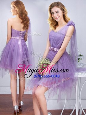 Super One Shoulder Sleeveless Ruffles and Ruching and Belt and Hand Made Flower Lace Up Wedding Party Dress