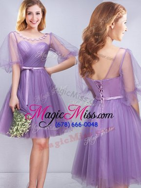 Customized Lavender Scoop Neckline Appliques and Ruching and Belt Wedding Guest Dresses Half Sleeves Lace Up
