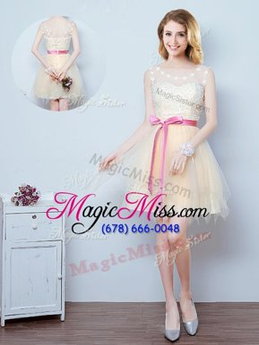Modern Mini Length Champagne Quinceanera Court Dresses Scoop Sleeveless Lace Up