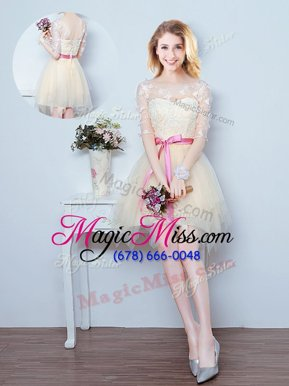 Dazzling Mini Length Champagne Quinceanera Court of Honor Dress Scoop Half Sleeves Lace Up