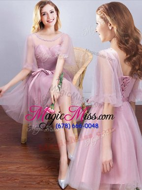 Fantastic Scoop Half Sleeves Tulle Mini Length Lace Up Wedding Party Dress in Pink for with Ruching and Bowknot