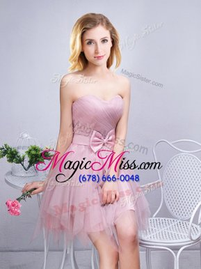 Captivating Pink Tulle Lace Up Sweetheart Sleeveless Mini Length Bridesmaid Gown Ruching and Bowknot