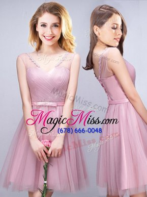 Suitable Sleeveless Ruching and Bowknot Lace Up Quinceanera Court of Honor Dress