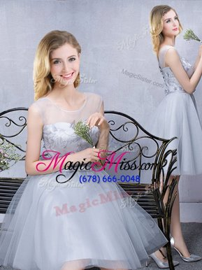 Exceptional Grey Wedding Guest Dresses Prom and Party and Wedding Party and For with Lace and Appliques and Belt Scoop Sleeveless Lace Up