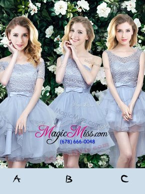 Pretty Grey A-line Off The Shoulder Sleeveless Organza Mini Length Lace Up Lace and Ruffles and Belt Bridesmaid Dress
