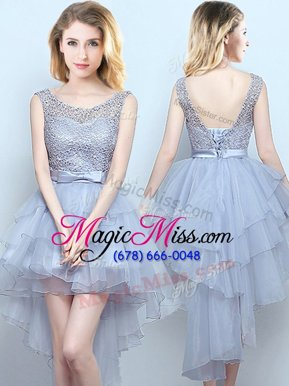 Customized Scoop Sleeveless Lace Up Quinceanera Dama Dress Grey Organza and Lace