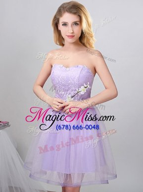 Pretty Sweetheart Sleeveless Lace Up Quinceanera Court of Honor Dress Lavender Tulle