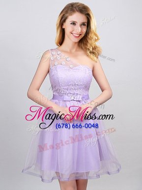 Mini Length Lavender Bridesmaid Dresses One Shoulder Sleeveless Lace Up