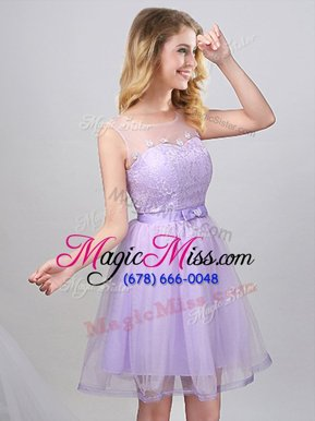 Attractive Scoop Mini Length Lavender Quinceanera Court of Honor Dress Tulle Sleeveless Lace and Appliques and Belt