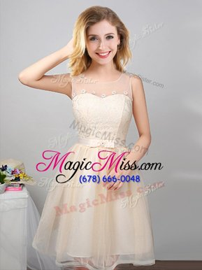 Beauteous Champagne Dama Dress for Quinceanera Prom and Party and Wedding Party and For with Lace and Appliques and Belt Scoop Sleeveless Lace Up