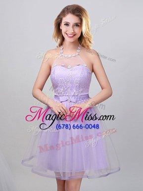 Graceful Mini Length Lavender Quinceanera Court of Honor Dress Halter Top Sleeveless Lace Up