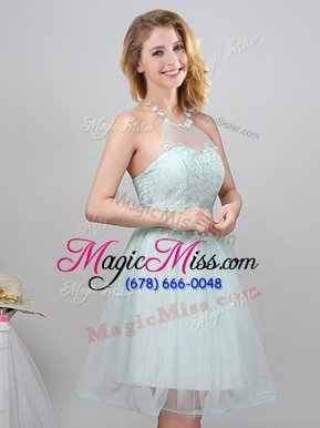 Apple Green Halter Top Lace Up Lace and Appliques and Belt Quinceanera Dama Dress Sleeveless