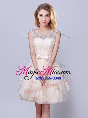 Popular Scoop Sleeveless Wedding Guest Dresses Mini Length Lace and Ruffles and Belt Champagne Organza