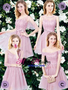 Hot Selling Empire Wedding Party Dress Pink Tulle Sleeveless Mini Length Lace Up