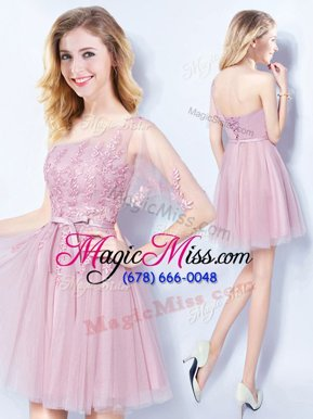 High End Pink Dama Dress Prom and Party and Wedding Party and For with Appliques and Belt One Shoulder Sleeveless Lace Up