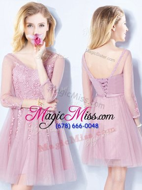 Vintage Sleeveless Tulle Mini Length Lace Up Court Dresses for Sweet 16 in Pink for with Appliques and Belt