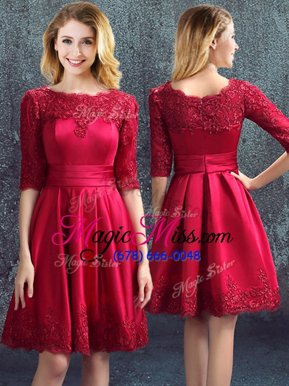 Trendy Wine Red Satin Zipper Bateau Half Sleeves Mini Length Quinceanera Dama Dress Lace